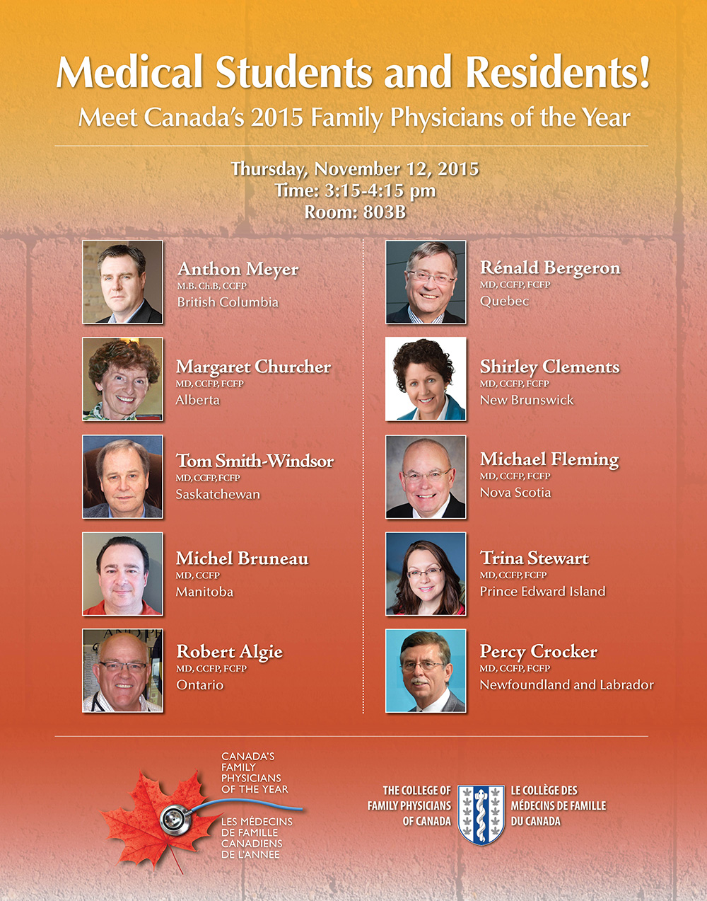 Medical Students and Residents! Meet Canada's 2015 Family Physicians of the Year